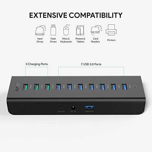 Aukey CB-H18 Hub USB Alimenté 7 Port USB 3.0 avec 3 Port ...
