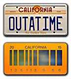 Back to the Future | Delorean | OUTATIME + 2015 | Metal Stamped Vanity Prop License Plate Combo