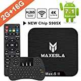 Android TV Box 2018 Dernière - Maxesla MAX-S II Android 7.1 Système, 2GB RAM + 16GB eMMC, Quad Core 64Bits CPU Amlogic S905W, Support Réel 4K*2K, WIFI 2.4Ghz, Smart TV Box avec Clavier Touchpad QWERTY