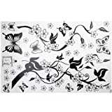 Lgking Sticker mural amovible en PVC Branches fleuries et papillons