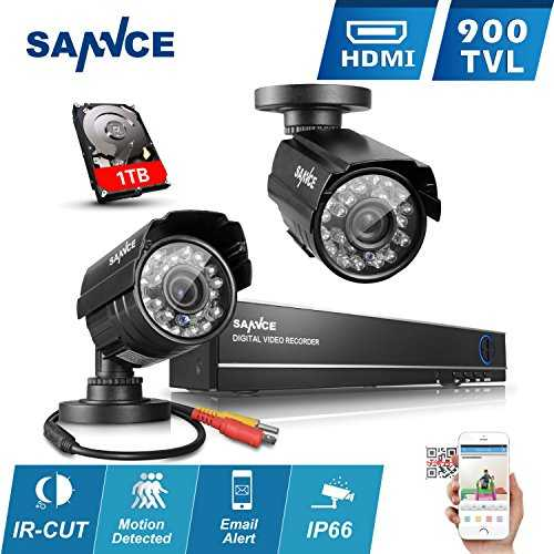 sannce 4ch dvr 960h syst me de vid o surveillance dvr 2 cam ras int rieur ext rieur. Black Bedroom Furniture Sets. Home Design Ideas