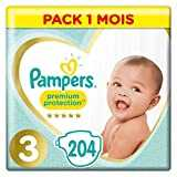 Pampers Premium Protection Taille 3, 204 Couches, 6-10kg Pack 1 Mois