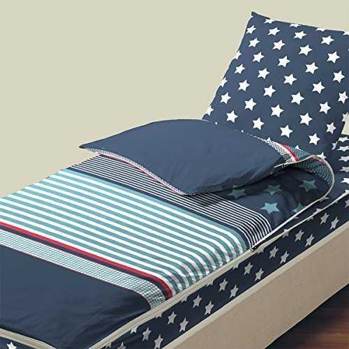 bleu c lin caradou parure de lit enfant 3 pi ces clovis bleu marine 90x190. Black Bedroom Furniture Sets. Home Design Ideas