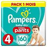 Pampers - Baby Dry Pants - Couches-culottes Taille 4 (9-15 kg) - Pack 1 mois (x160 culottes)