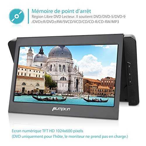 pumpkin lecteur dvd portable double ecran voiture 10 1. Black Bedroom Furniture Sets. Home Design Ideas