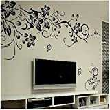 Sticker mural blanc motif fleurs noires wallsticker great tattoos wAG - 019