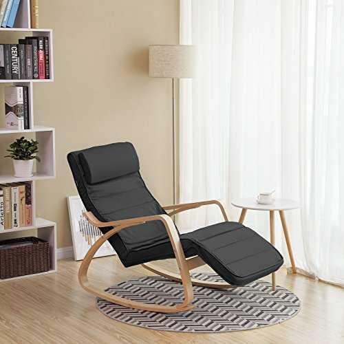songmics rocking chair fauteuil bascule avec repose pieds r glable 5. Black Bedroom Furniture Sets. Home Design Ideas