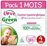 Love & Green Couches Taille 4 (7-14 Kg) - Pack 1 Mois (184 Couches)
