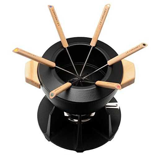 le creuset service fondue luxe poign es bois noir. Black Bedroom Furniture Sets. Home Design Ideas