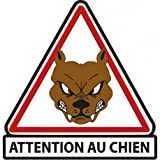 Attention au chien autocollant sticker adhesif - 8 cm
