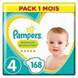 Pampers Premium Protection Couches, Taille 4 (9-14 kg)/(8-16kg), Pack 1 Mois (168 Couches)