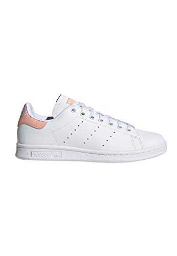 adidas Stan Smith J, Sneakers Basses Mixte Enfant, Multicolore (FTWR White/FTWR White/Glow Pink Ee7571), 37 1/3 EU