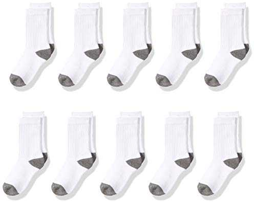 Amazon Essentials 10-Pack Cotton Crew Sock Athletic, White/Grey Heather Heel, Toe, Medium (Shoe Size: 9-2.5)