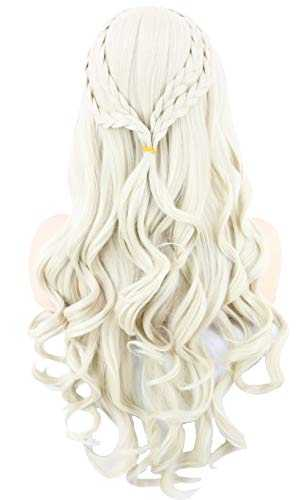 Topcosplay Cosplay Perruque Femme, Daenerys Perruques Longue Bouclée Blonde Perruque khaleesi pour Halloween Costume