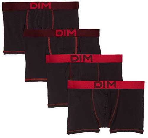 Dim Boxer Mix and Colors X4 Bain, Multicolore Aubergine Foncé/Noir CT Rouge Baie 86w, Large (Taille Fabricant:4) (Lot de 4) Homme