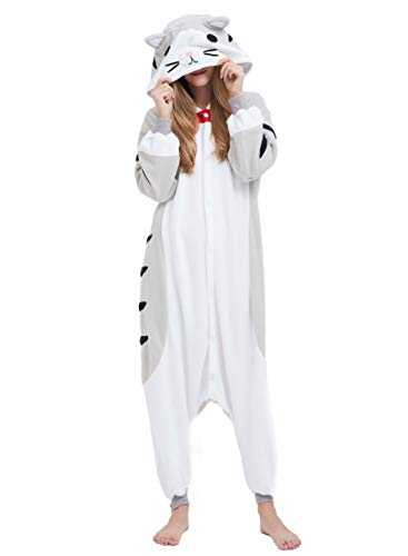 Adulte Unisexe Anime Animal Costume Cosplay Combinaison Pyjama Outfit Nuit Vetements Onesie Halloween Costume Soiree de Deguisements,Gris Chat Tigré,S(148-155CM)