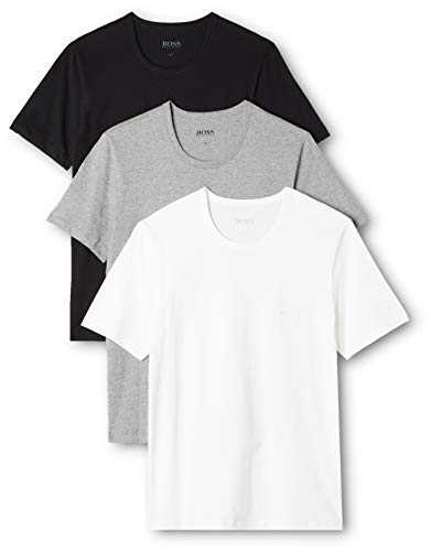 BOSS T- Shirt Col Rond - (Lot de 3) - Regular Fit - Blanc/Gris/Noir - Large