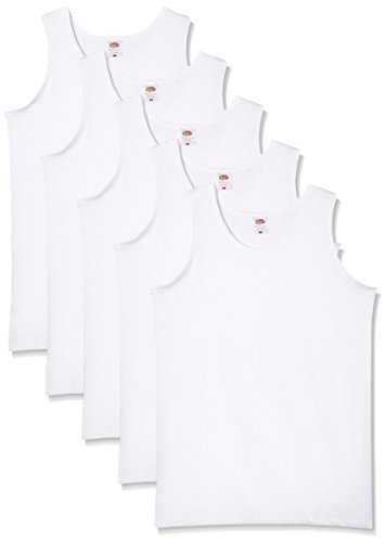 Fruit of the Loom 5-Pack Athletic Mens Maillot de Corps, Blanc, Large (Lot de 5) Homme