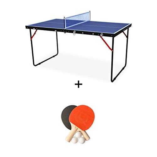 Alice's Garden - Mini Table de ping Pong Pliable Indoor Sapporo Bleue, avec 2 Raquettes et 3 balles, Tennis de Table