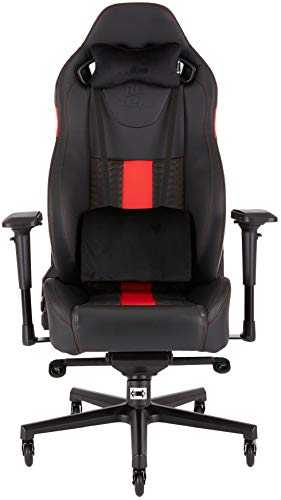 T2 Road Warrior - Fauteuil Gaming de Bureau en Similicuir, Montage Facile, Ergonomique, Hauteur Réglable et Accoudoirs 4d,  Siège Large et Confortable avec Dossier Inclinable – Noir/rouge
