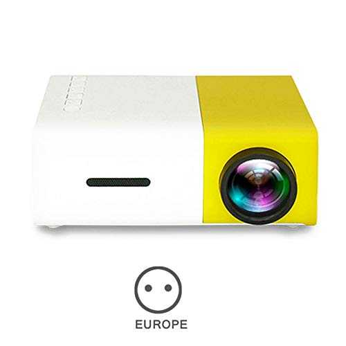 Ohyoulive Mini Projector - Portable Theater Home Office HD 1080P Yellow LED Home Office HD Mini Projector Multimedia for Children Present, Video TV Movie, Party Game, Outdoor Entertainment New