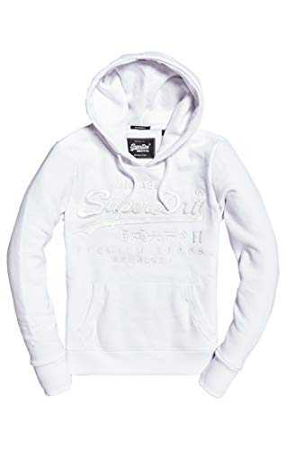 Superdry Premium Goods Tonal EMB Entry Sweat-Shirt À Capuche Sport, Blanc (Optic 01c), X-Small (Taille Fabricant: 8) Femme