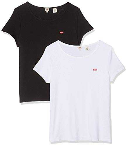 Levi's 2pack Tee T-Shirt, Multicolore (2 Pack White +/Mineral Black 0000), Medium Femme