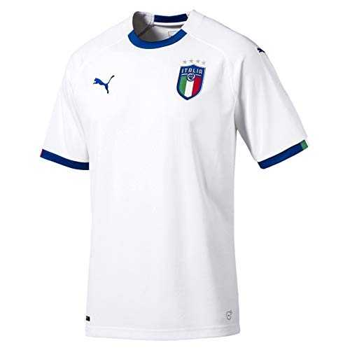 PUMA FIGC Italia Away Shirt Replica SS Maillot Homme, White-Team Power Blue, FR : S (Taille Fabricant : S)