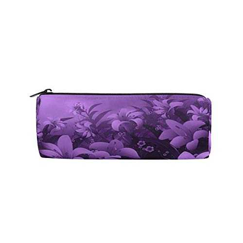 Pencil Pouch Purple Strange Flowers Zipit Cute Pencil Cases School Pen Organizer Holder Womens Makeup Bag