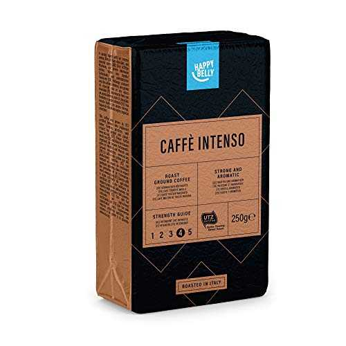 "Marque Amazon - Happy Belly Café torréfié moulu ""Caffè Intenso"" (4 x 250g)"