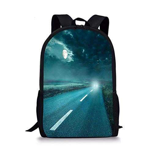 School Bags Horror House Decor,Highway Road to Hell Under Storm Clouds Asphalt Twilight Terror Image Artwork,Blue for Boys&Girls Mens Sport Daypack