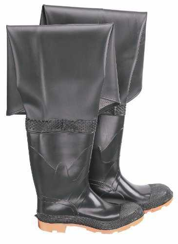 ONGUARD 86056 PVC/Polyester Men's Plain Toe Hip Wader with Cleated Outsole, 32 Height, Black, Size 12 by ONGUARD Industries