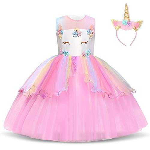 NNJXD Filles Licorne Party Costume Fleur Cosplay Mariage Halloween Fantaisie Princesse Robe   Chapeaux Taille (130) 5-6 Ans Rose