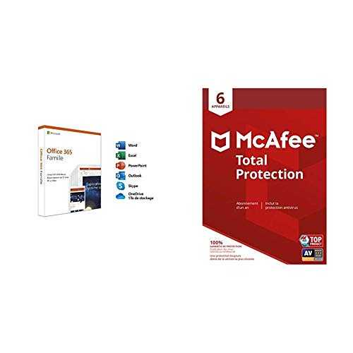 Microsoft Office 365 Famille   McAfee Total Protection 6 Appareils