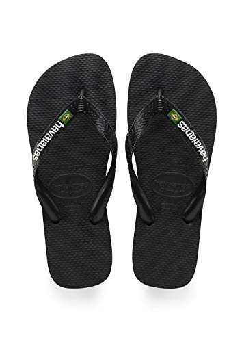 Havaianas Brasil Logo, Tongs Mixte Adulte, Multicolore (NOIR / NOIR),(41/42 EU)