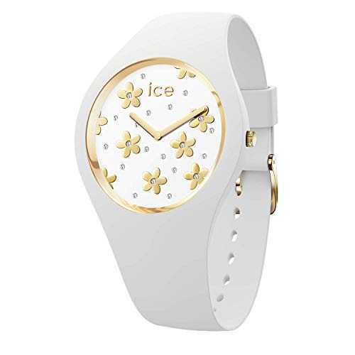Ice-Watch - Ice Flower Precious White - Montre Blanche pour Femme avec Bracelet en Silicone - 016658 (Small)