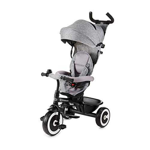 Kinderkraft Tricycle Enfant Évolutif ASTON, Canne Télescopique Amovible, Gris