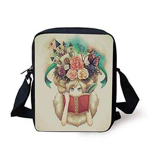 Fantasy,Creative Girl Reading with Medieval Castle Butterfly Roses Bird Dream World Print,Multicolor Print Kids Crossbody Messenger Bag Purse