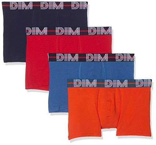 Dim Boxer Powerful X4, Multicolore (Rouge Baie Nuit/Bleu Cobalt/Orange Bronze 88q), Large (Taille Fabricant:4) (Lot de 4) Homme