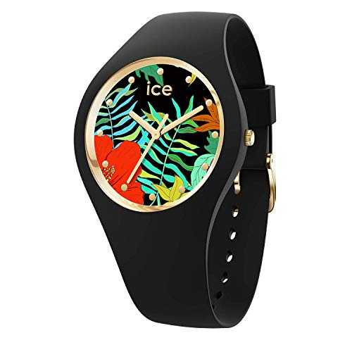 Ice-Watch - Ice Flower Jungle - Montre Noire pour Femme avec Bracelet en Silicone - 016656 (Small)