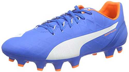 PUMA Evospeed 4.4 FG, Chaussures de Football Hommes, Bleu-Blau (Electric Blue Lemonade-White-Orange Clown Fish 03), 44.5 EU