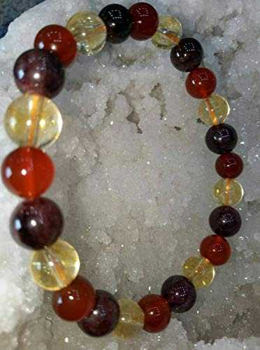LOVEKUSH Beautiful AAA++ Quality 8mm Beaded Bracelet, Garnet Red Carnelian Citrine Bracelet Natural Stone Beaded Elastic Stretchy Bracelet Healing Men's Women's Bracelet