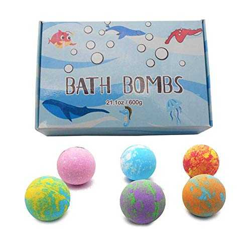 euwanyu Kids Bath Bombs with Surprise Inside,6 Pcs Bath Fizzies,Sea Animal Toys Inside,Safe Ingredient Handmade Natural Bubble Bath Fizzy, for Boys, Girls,Children,Kids