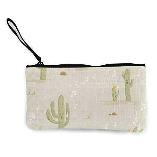 Desert Lullaby - Crooning Cacti Multifunctional Portable Canvas Coin Purse Phone Pouch Cosmetic Bag,Zippered Wristlets Bag