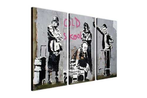 "Wallfillers Canvas Toile Motif Banksy Grannies Old Skool Thugs Cadre photo avec décoration de photos de graffiti street art, 3 photos suspendus., Toile Bois, 2- 3 X 20"" X 10"" (3 X 50CM X 25CM)"