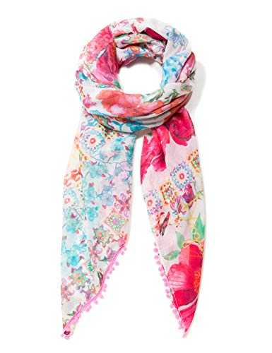 Desigual Rectangle Foulard Geisha Woman White Echarpe, Blanc (MONBEAN 1028), Unique (Taille Fabricant: U) Femme