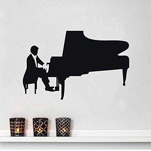Tianpengyuanshuai Removable Art Piano Player Decal Vinyl Music Wall Sticker Design Bathroom Living Room Decor59x38cm