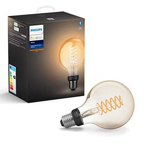 Philips Hue Ampoule LED Connectée White Filament E27 Forme Globe, Compatible Bluetooth 7 W, Fonctionne avec Alexa