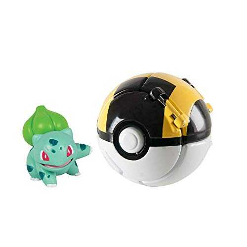 FHERIC Jouet Poké Ball, Bulbasaur et Ultra Ball Figurine Pokémon Throw 'N' Pop