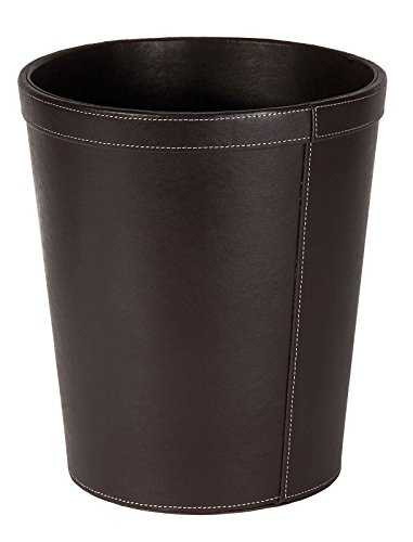 Osco 29cm Faux Leather Waste Bin - Brown